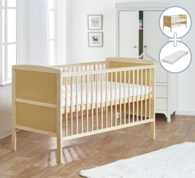 Sydney Cot Bed Natural with Kinder Flow Mattress