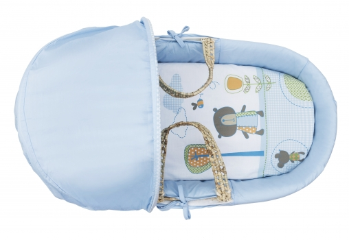 Tiny Ted Blue Moses Basket Bedding Set