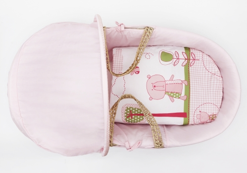 Tiny Ted Pink Moses Basket Bedding Set