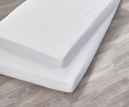 2 Pack Compact Cot Sheets White