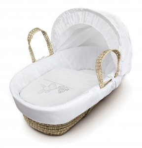 White Teddy Wash Day Moses Basket