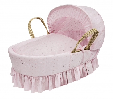 Broderie Anglaise Pink Moses Basket Bedding Set