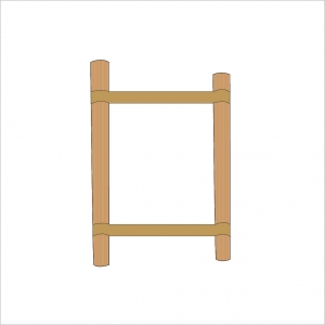 Folding Stand Canvas and Supporting Dowels Natural